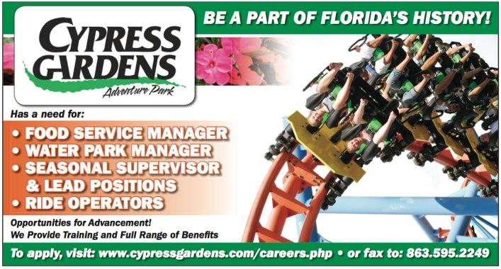Cypress Gardens Recruitment Advertisement