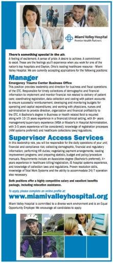 Miami Valley Hospital Recruitment Advertisement