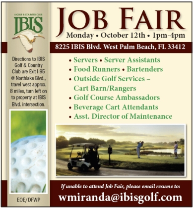 Ibis Country Club Recruitment Advertisement