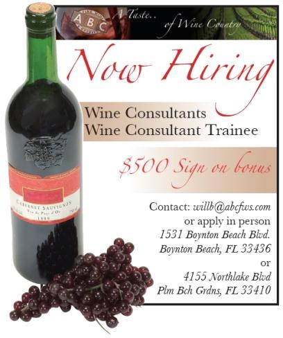 ABC Fine Wine and SpiritsRecruitment Advertisement