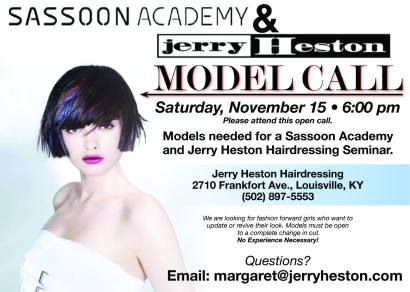 Call for Models Card for Jerry Heston Hairdressing
